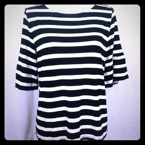 Talbots Petite B/W Striped Raglan Bell Sleeve Top